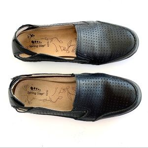 Spring Step Black Leather Perforated Slip On Flats